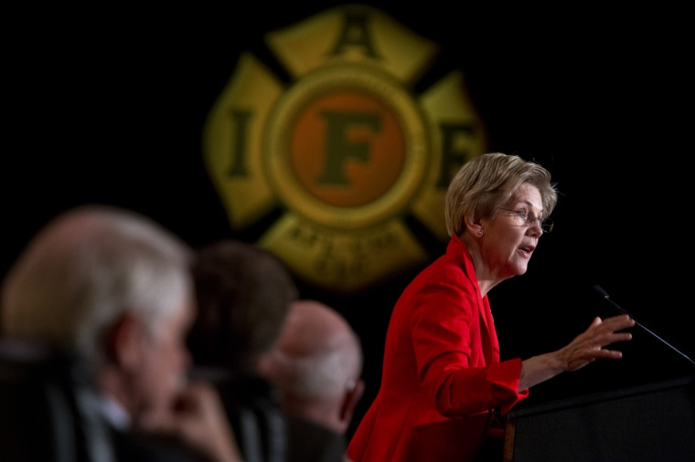 Elizabeth Warren speaks during the International Association of Fire Fighters Legislative Conference General Session at the Hyatt Regency on Capitol Hill, March 9, 2015. (Photo By Tom Williams/CQ Roll Call via Getty)