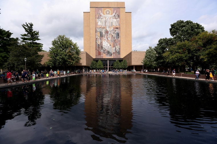 """The mural at the Hesburgh Library, commonly known as \""""Touchdown Jesus\"""" is seen on the campus of Notre Dame University on Aug. 30, 2014 in South Bend, Ind. (Photo by Jonathan Daniel/Getty)"""