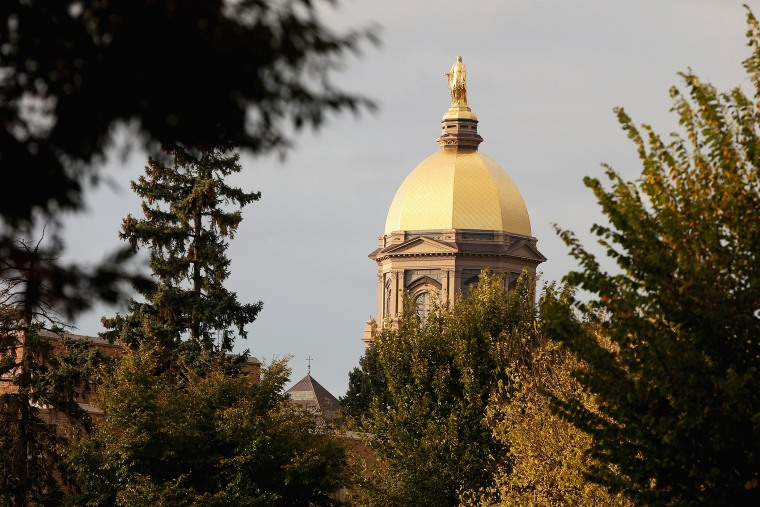 "A general view of the ""Golden Dome"" on the campus of Notre Dame University on October 19, 2013 in South Bend, Ind. (Photo by Jonathan Daniel/Getty)"