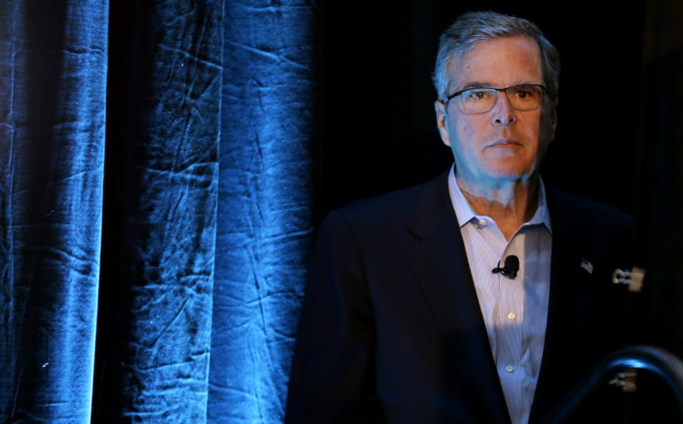 Former Florida Gov. Jeb Bush waits backstage before speaking at the Iowa Agriculture Summit, March 7, 2015, in Des Moines, Ia. (Photo by Charlie Neibergall/AP)