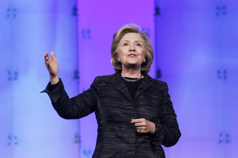 Hillary Rodham Clinton speaks during a keynote address at the Watermark Silicon Valley Conference for Women on Feb. 24, 2015, in Santa Clara, Calif. (Photo by Marcio Jose Sanchez/AP)