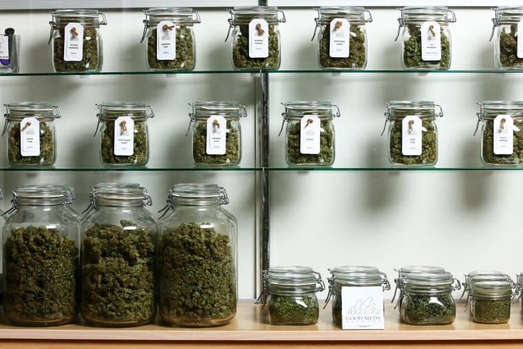Jars of medical cannabis line the shelves inside a Good Meds medical cannabis center in Lakewood, Colo., U.S., on Monday, March 4, 2013. (Photo by Matthew Staver/For The Washington Post/Getty)