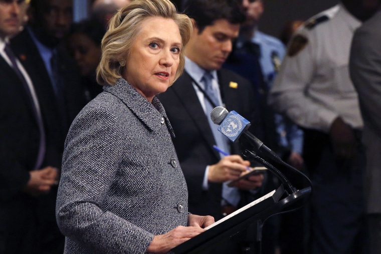 Former U.S. Secretary of State Hillary Clinton speaks during a news conference at the United Nations in New York, March 10, 2015. (Photo by Lucas Jackson/Reuters)