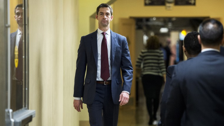 Sen. Tom Cotton, R-Ark., heads to the Senate subway following a vote in the Capitol on Jan. 8, 2015. (Photo By Bill Clark/CQ Roll Call/Getty)