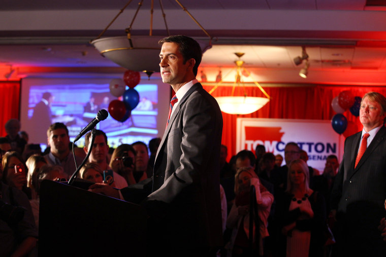 Republican Tom Cotton speaks after the results of the midterm elections in North Little Rock, Arkansas, on Nov. 4, 2014. (Photo by Jacob Slaton/Reuters)