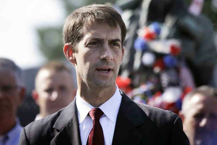 In this file photo taken July 26, 2014, U.S. Rep. and Republican candidate for U.S. Senate Tom Cotton speaks at a campaign event in Little Rock, Ark. (Photo by Danny Johnston/AP)