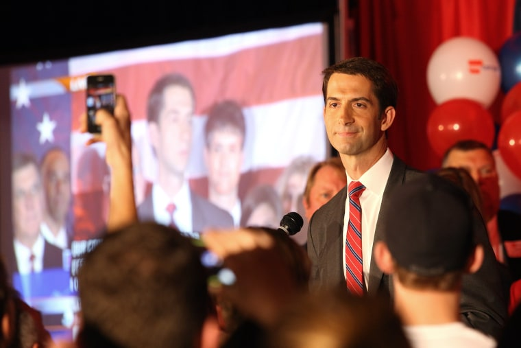 Republican Tom Cotton speaks after the results of the midterm elections in North Little Rock, Ark., Nov. 4, 2014. (Photo by Jacob Slaton/Reuters)