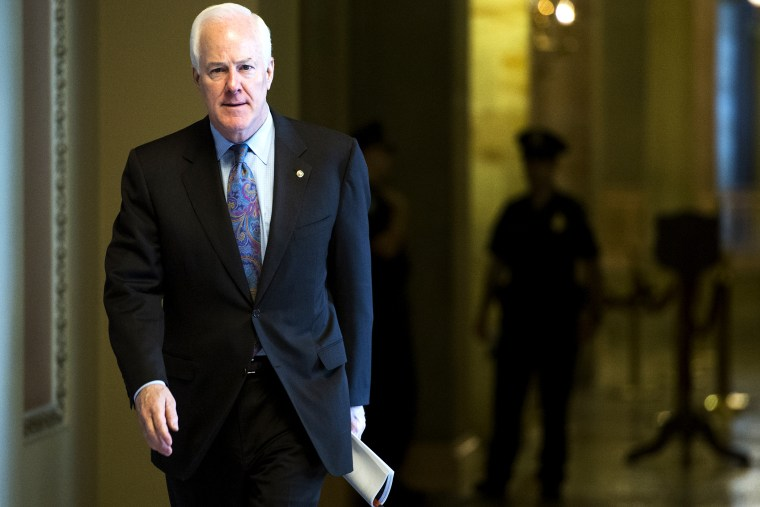 John Cornyn, R-Texas, leaves Senate Minority Leader Mitch McConnell's office in the Capitol on Oct. 8, 2013 in Washington, D.C. (Photo By Bill Clark/CQ Roll Call/Getty)