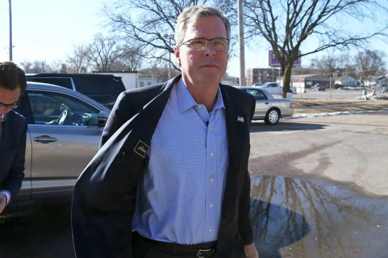 Former Florida Governor Jeb Bush arrives at the Iowa Ag Summit on March 7, 2015 in Des Moines, Iowa. (Photo by Scott Olson/Getty)