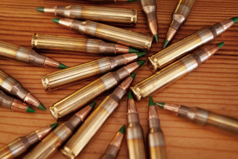 Green tipped armor-piercing 5.56 millimeter ammunition is shown on Feb. 27, 2015 in Chicago, Ill. (Photo by Scott Olson/Getty)