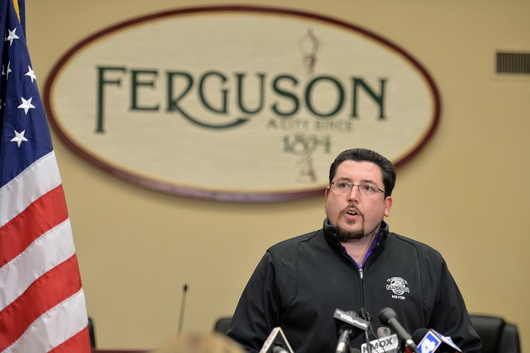 Ferguson Mayor James Knowles speaks to the media during a press conference at the Ferguson City Hall and Municipal Court Building on March, 11, 2015 in Ferguson, Mo.
