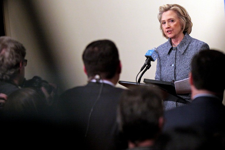 Former United States Secretary of State Hillary Clinton answers media questions after keynoting a Women's Empowerment Event at the United Nations on March 10, 2015 in New York City. (Photo by Yana Paskova/Getty)