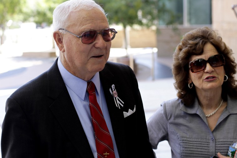 Retired US Army Colonel Bill Badger arrives at the US Federal Courthouse for Tuscon shooting rampage suspect Jared Lee Loughner's court hearing in Tucson, Ariz., August 7, 2012. (Photo by Joshua Lott/Reuters)