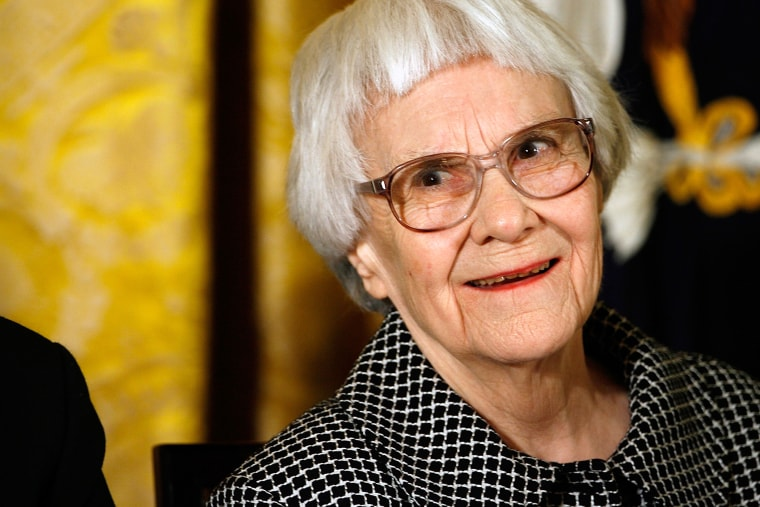 """Pulitzer Prize winner and \""""To Kill A Mockingbird\"""" author Harper Lee smiles before receiving the 2007 Presidential Medal of Freedom in the East Room of the White House November 5, 2007 in Washington, D.C. (Photo by Chip Somodevilla/Getty)"""
