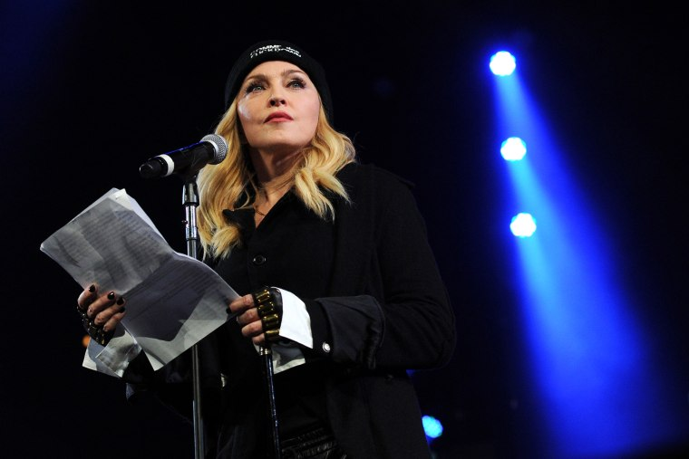"""Madonna participates in Amnesty International's """"Bringing Human Rights Home"""" Concert at the Barclays Center on Feb. 5, 2014 in New York, N.Y. (Photo by Evan Agostini/Invision/AP)"""