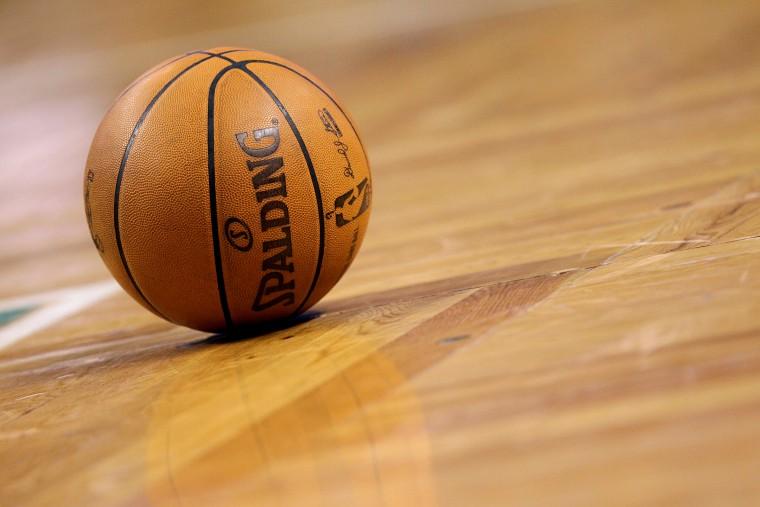 A detail shot of a basketball.