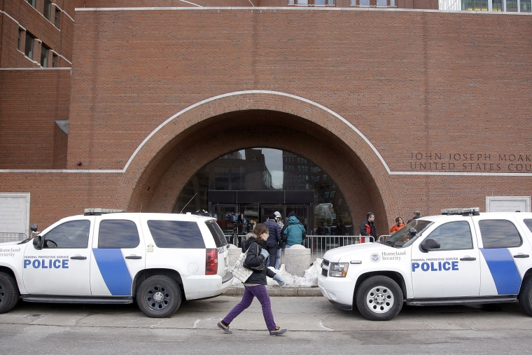 Homeland Security vehicles are staged outside the main doors of the federal courthouse on March 9, 2015, in Boston, during the federal death penalty trial of Dzhokhar Tsarnaev.