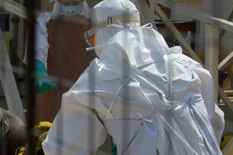 A healthcare worker at an Ebola treatment center outside Freetown, Sierra Leone on Dec. 22, 2014.