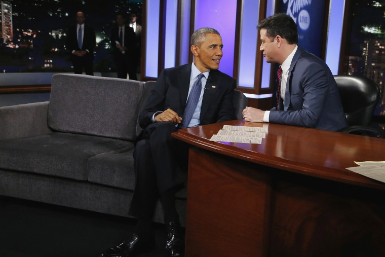 President Barack Obama talks with Jimmy Kimmel during a taping of Jimmy Kimmel Live in Los Angeles, California on March 12, 2015.