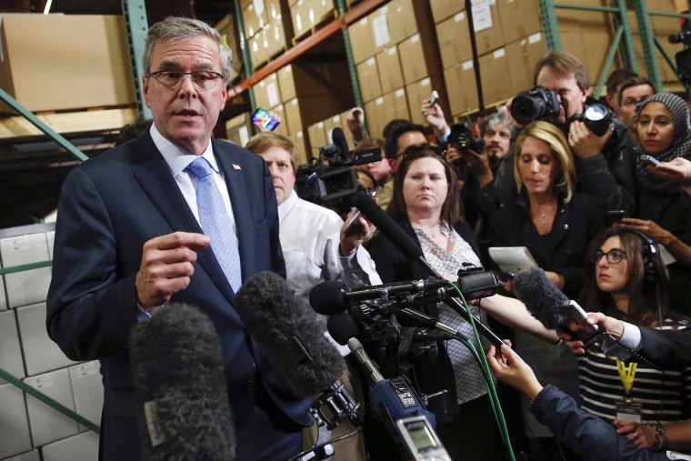 Former Florida Governor Jeb Bush speaks to the media after visiting Integra Biosciences during a campaign stop in Hudson, N.H. on March 13, 2015.