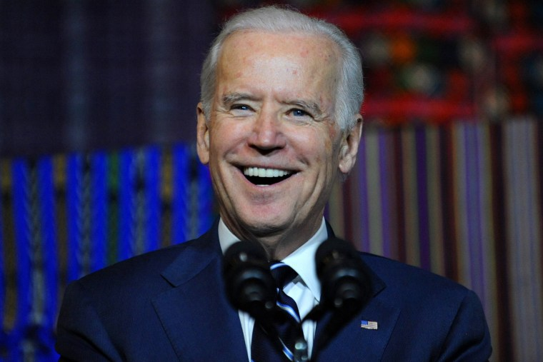 Vice-President Joe Biden smiles during a visit to the Ixchel Museum in Guatemala City on March 2, 2015.