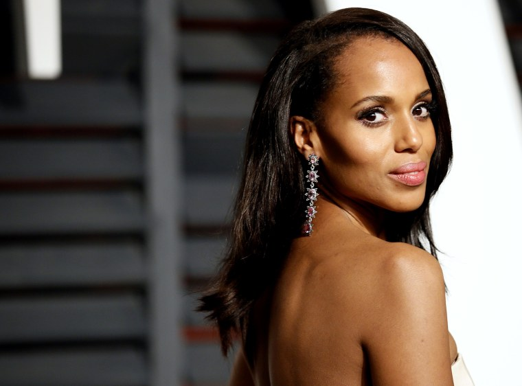 Actress Kerry Washington arrives at the 2015 Vanity Fair Oscar Party in Beverly Hills, Calif., Feb. 22, 2015. (Photo by Danny Moloshok/Reuters)