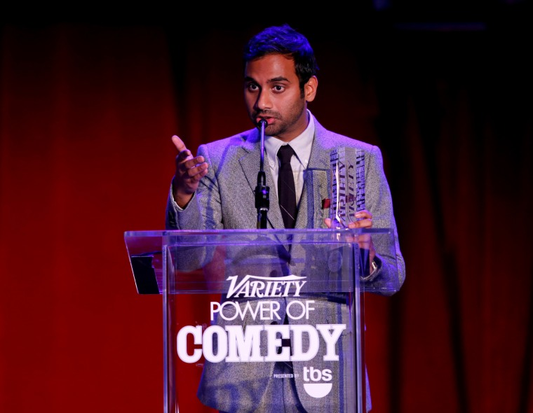 Honoree Aziz Ansari speaks onstage at Variety's 5th annual Power of Comedy presented by TBS benefiting the Noreen Fraser Foundation at The Belasco Theater on Dec. 11, 2014 in Los Angeles, Calif. (Photo by Joe Scarnici/Getty)