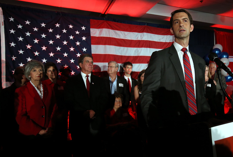 Then-US Rep. Tom Cotton (R-AR) and republican US Senate elect in Arkansas spoke to supporters during an election night gathering on Nov. 4, 2014 in North Little Rock, Ark. (Photo by Justin Sullivan/Getty)