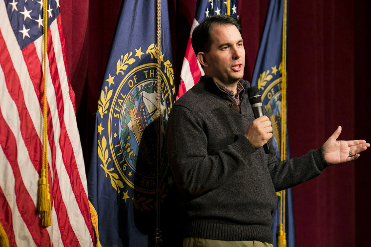 Governor Scott Walker (R-WS) speaks to Republican organizing meeting in Concord, N.H., March 14, 2015. (Photo by Dominick Reuter/Reuters)