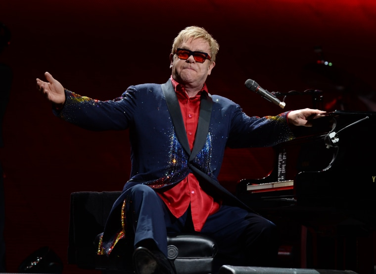Elton John in concert at the American Airlines Arena, Miami, Fl., March 6, 2015. (Photo by Rex Features via AP)