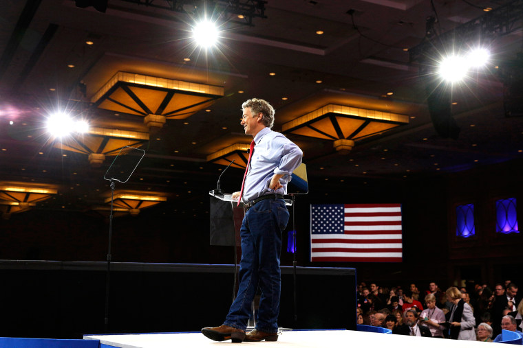 Senator Rand Paul of Kentucky speaks at the Conservative Political Action Conference (CPAC) at National Harbor, Md., Feb. 27, 2015. (Photo by Kevin Lamarque/Reuters)