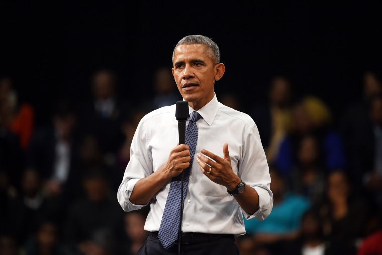 President Barack Obama speaks during a town-hall meeting on March 6, 2015, at Benedict College in Columbia, S.C. (Photo by Rainier Ehrhardt/AP)