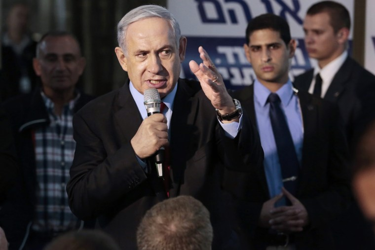 Israeli Prime Minister Benjamin Netanyahu speaking to his Likud party faithful in a campaign stop in Netanya, north of Tel Aviv, Israel on March 11, 2015. (Photo by Jim Hollander/EPA)