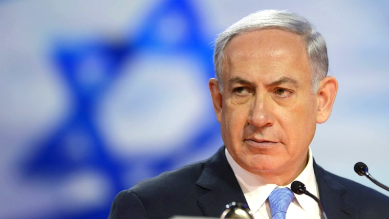 In this handout provided by the Israeli Government Press Office (GPO) Israeli Prime Minister Benjamin Netanyahu speaks during an event on March 2, 2015 in Washington, D.C. (Photo by Amos Ben Gershom/GPO/Getty)
