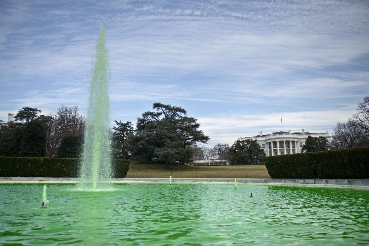 The South Lawn fountain at the White House in Washington, DC is dyed green in celebration of St. Patrick's Day on March 17, 2015.