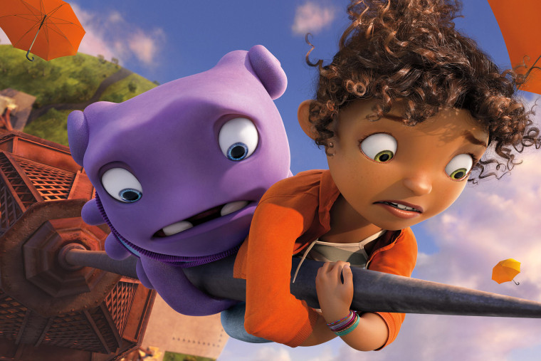 """This photo released by DreamWorks Animation shows Oh, left, (voiced by Jim Parsons) and Tip (voiced by Rihanna) in DreamWorks Animation's """"Home."""""""