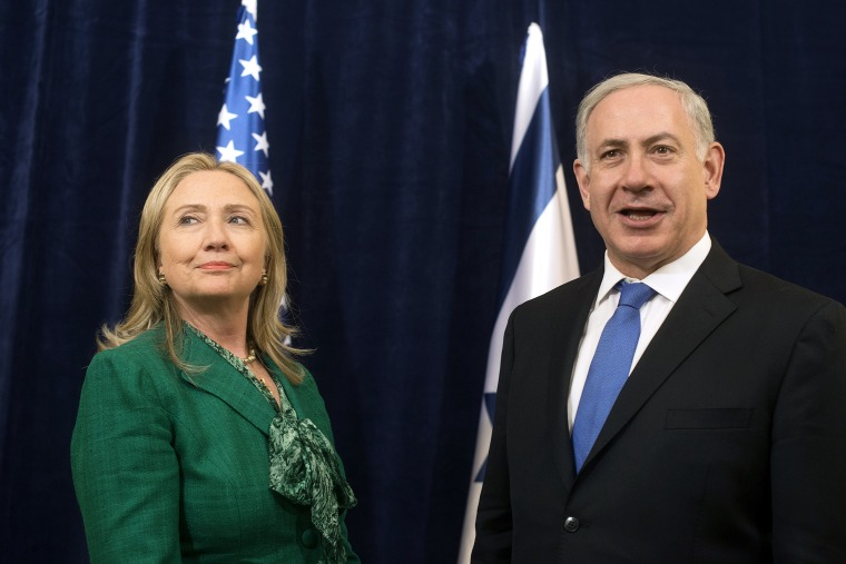 Then-U.S. Secretary of State Hillary Clinton meets with Israeli Prime Minister Benjamin Netanyahu in New York in 2012. (Photo by Keith Bedford/Reuters)