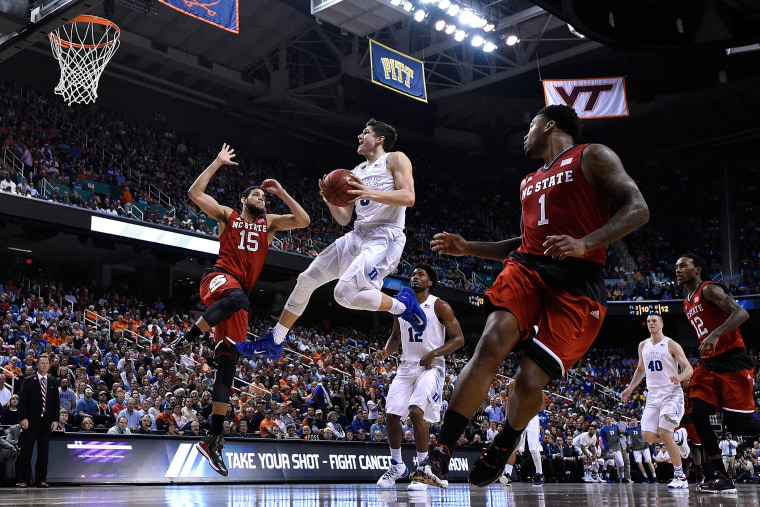 Grayson Allen #3 of the Duke Blue Devils drives to the basket against Cody Martin #15 of the North Carolina State Wolfpack during the quarterfinals of the ACC Basketball Tournament at Greensboro Coliseum on March 12, 2015 in Greensboro, N.C.