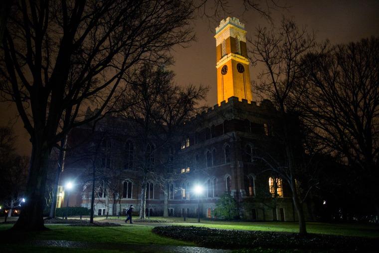 The Vanderbilt University campus is seen shortly before sunrise in Nashville, Tenn., Jan. 28, 2015. (Photo by Joe Buglewicz/The New York Times/Redux)