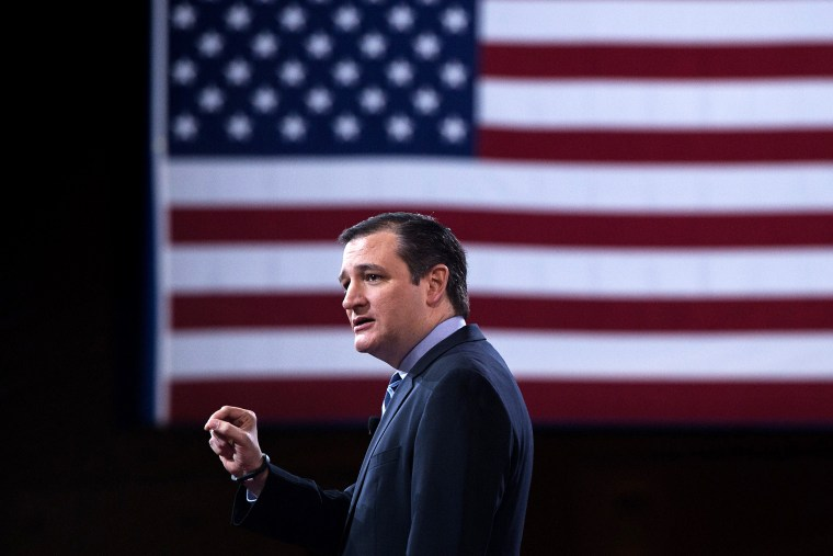 Sen. Ted Cruz (R-Texas) addresses the annual Conservative Political Action Conference (CPAC) in National Harbor, Md., on Feb. 26, 2015. (Photo by Nicholas Kamm/AFP/Getty)