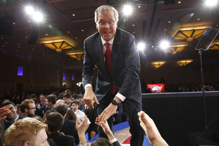 Jeb Bush shakes hands after speaking at the Conservative Political Action Conference (CPAC) at National Harbor in Maryland, on Feb. 27, 2015. (Photo by Kevin Lamarque/Reuters)