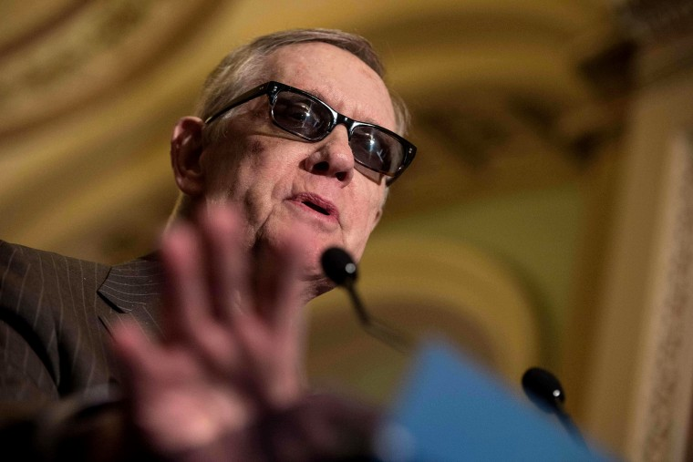 US Senate Minoriity Leader Harry Reid,D-NV, speaks at a press conference at the US Capitol in Washington, DC, on March 10, 2015. (Photo by Nicholas Kamm/AFP/Getty)