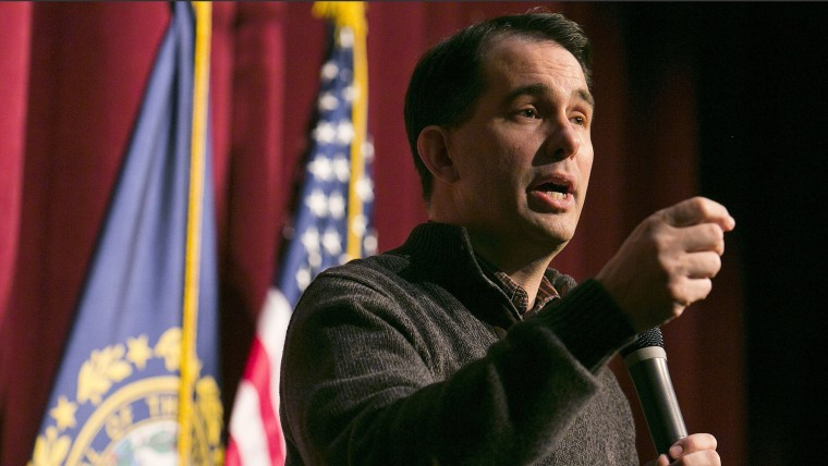 Governor Scott Walker (R-WS) speaks at a Republican organizing meeting in Concord, New Hampshire on March 14, 2015. (Photo by Dominick Reuter/Reuters)