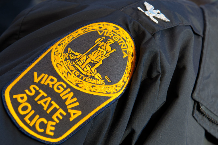 This December 13, 2012 file photo shows the patch on the sleeve of a Virginia State Police officer.