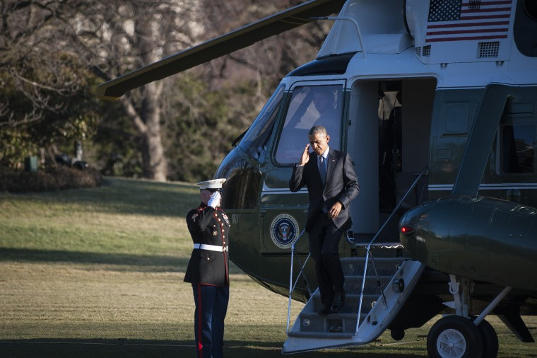President Barack Obama arrives on the South Lawn of the White House onboard Marine 1 March 18, 2015 in Washington, DC. (Photo by Pete Marovich-Pool/Getty)