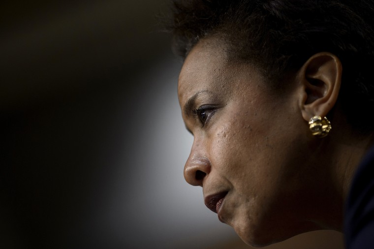 Loretta Lynch listens during her confirmation hearing before the Senate Judiciary Committee Jan. 28, 2015 in Washington, DC. (Photo by Brendan Smialowski/AFP/Getty)