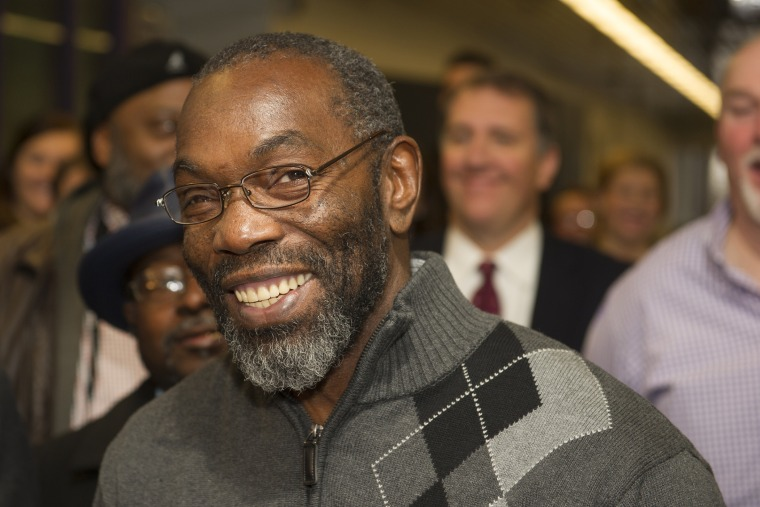 Ricky Jackson, 57, of Cleveland, smiles as he speaks with reporters, after being released from a life sentence an hour earlier on Nov. 20, 2014 in Cleveland. (Photo by Phil Long/AP)
