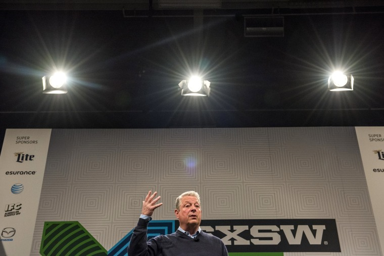 Former US Vice President Al Gore speaks during a keynote session at the South By Southwest (SXSW) Interactive Festival in Austin, Texas, on March 13, 2015. (Photo by David Paul Morris/Bloomberg via Getty)