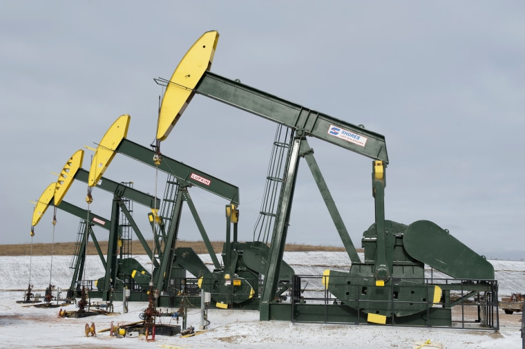 Pumpjacks taken out of production temporarily stand idle at a Hess site while new wells are fracked near Williston, ND, Nov. 12, 2014. (Photo by Andrew Cullen/Reuters)