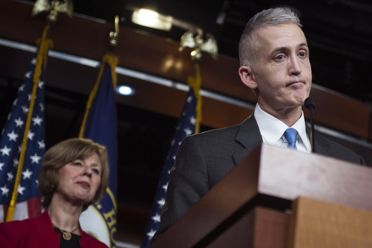 Chairman Trey Gowdy (R-SC) of the House Select Committee on Benghazi speaks to reporters at a press conference on the findings of former Secretary of State Hillary Clinton's personal emails at the U.S. Capitol on March 3, 2015 in Washington, D.C.